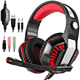GM-2 Gaming Headset for PS4 Xbox One PC Laptop Smartphone Tablet Cell Phone, AFUNTA Stereo LED Headphone with Microphone and Y Splitter- Black+Red