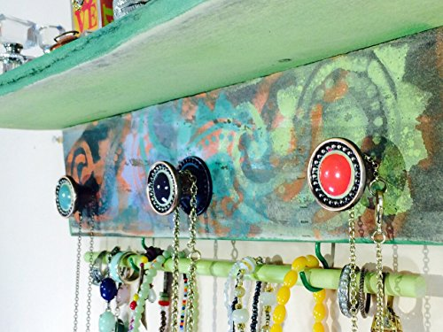 Made to order - pallet wood Wall shelf / bracelet holder recycled pallet wood jewelry hanger distressed yellow paisley 3 hand-painted knobs (Shelves Pallet Recycled)