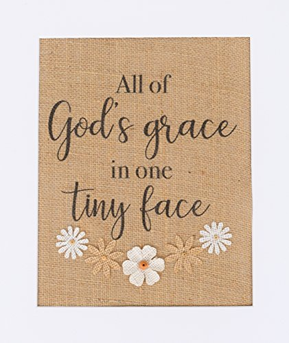 Vintage Nursery Baby Shower (8x10 UNFRAMED All Of God's Grace In One Tiny Face / Burlap Print Sign 3D Flower Art / Rustic Country Shabby Chic Vintage Decor Baby Girl Baby Nursery New Born / Mixed Media Flowers)