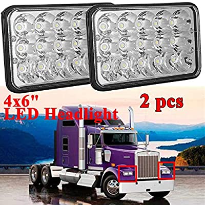 4x6 inch LED Headlight for Peterbil Kenworth Freightinger 357/378 / 379, Hi/Lo Sealed Beam, Rectangular Super Bright Headlamp Replacement Bulbs fits H4651/H4652/H4656/H4666/H6545 H4668 - Pack 2