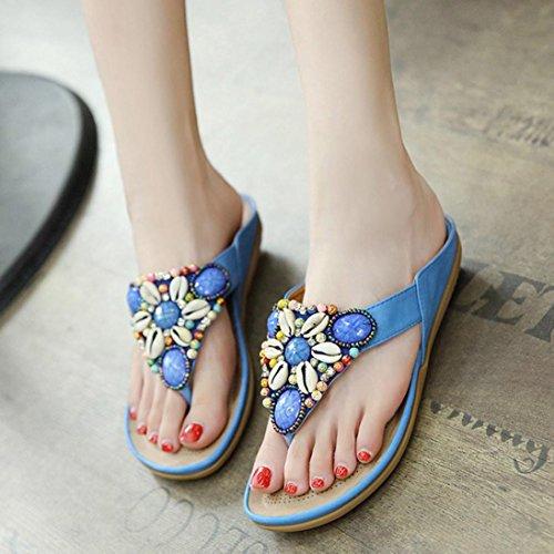 Ocio de Deslizadores Bohemia planos de mujer peep 42 abiertos Azul sandalias Covermason toe de señora de Liquidación Zapatos Zapatos EU wg8wq