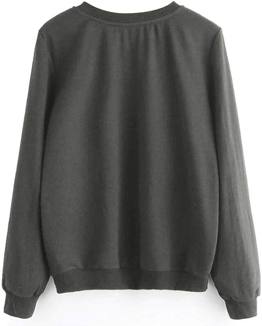 Langle Women Casual O-Neck Long Sleeve Prints Sweatshirt Fashion Sweatshirts