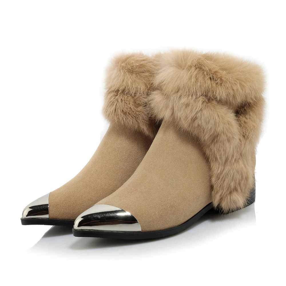 WANG-LONG Stivali da Donna Martin Scarponcino da Neve in in in Pelle Crosta Tacco Grezzo Autunno Inverno Antiscivolo Traspirante Caldo Casual Nuovo Stile,Khaki-38 3d8e1e