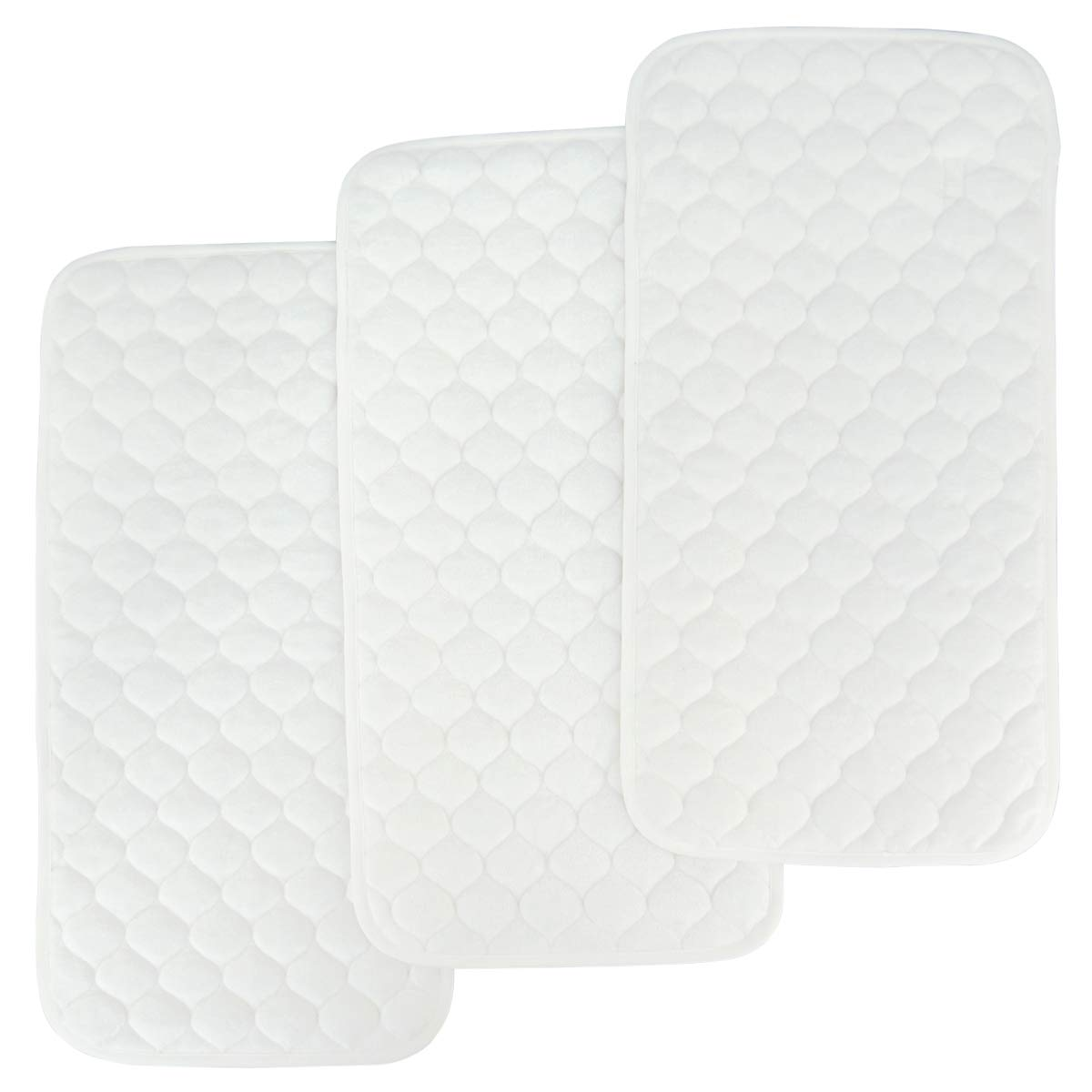 Bamboo Quilted Thicker Longer Waterproof Changing Pad Liners for Babies 3 Count (White Gourd Pattern