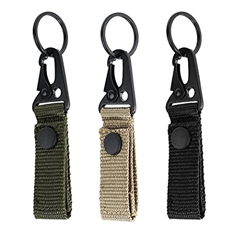 Tactical Gear Clip Band Gear Keeper Pouch Key Chain Nylon Belt Keychain EDC Molle Webbing Key Ring Holder Military Utility Hanger Keychain Hook Compatible with Molle Bags--Pack of - Nylon Chain