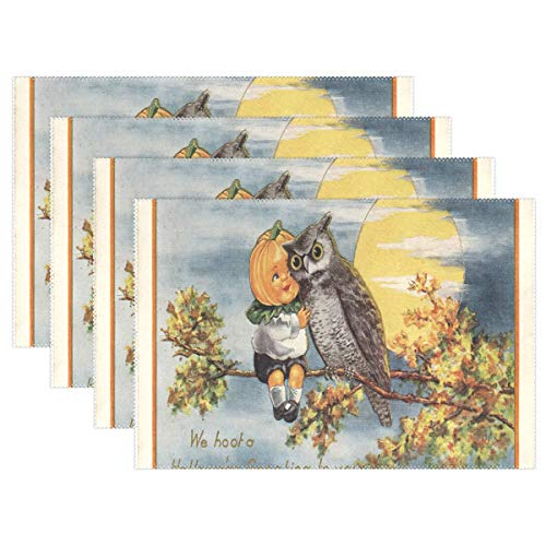 NMCEO Place Mats Vintage Halloween Image Personalized Table Mats for Kitchen Dinner Table Washable PVC Non-Slip Insulation 1 Piece -