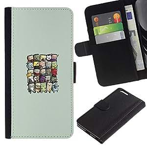 // PHONE CASE GIFT // Moda Estuche Funda de Cuero Billetera Tarjeta de crédito dinero bolsa Cubierta de proteccion Caso Apple Iphone 6 PLUS 5.5 / Cute Wizards /