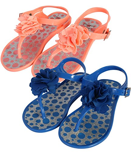 Toddler Stone - Stepping Stones Girls 2 Pack Jelly Flower Thong Sandals, Royal/Coral, 9 M US Toddler'