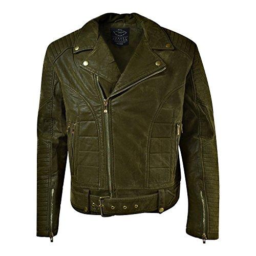 Jordan Craig Suede Biker Men's Moto Jacket Dark Olive 91294-dark olive (Size L) by Jordan Craig
