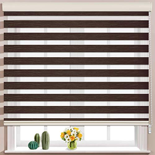 Keego Window Blinds Custom Cut to Size, Brownish Brown Zebra Blinds with Dual Layer Roller Shades, [Size W 35 x H 56] Dual Layer Sheer or Privacy Light Control for Day and Night