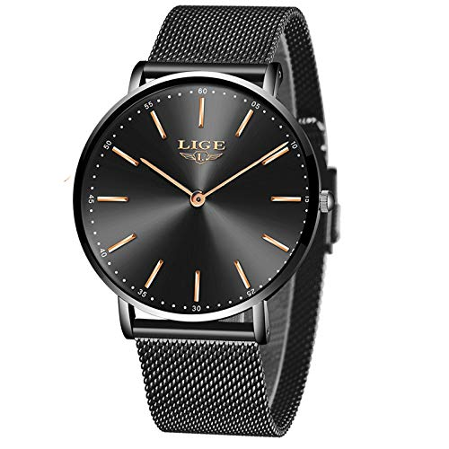 LIGE Mens Watches Gents Fashion Elegant Analog Quartz Waterproof Watch for Men Dress Classic Casual Male Wrist Watch…