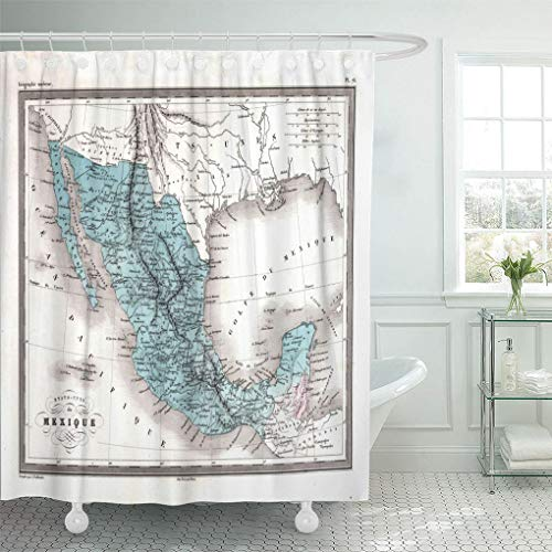 Emvency Waterproof Fabric Shower Curtain Hooks Vintage Antique 1870 Map of Mexico Old Baja World Yucatan Area 66