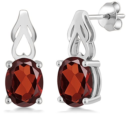9x7 Oval Earrings (3.60 Ct Oval Red Garnet 925 Sterling Silver Birthstone Earrings (9X7MM Oval))