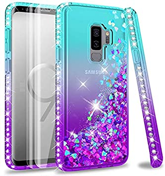 LeYi Compatible with Funda Samsung Galaxy S9 Plus S9+ Silicona Purpurina Carcasa con [2-Unidades] 3D Curvo Pet Pantalla,Transparente Cristal Bumper Telefono Fundas Case Cover para Movil S9 Plus Azul: Amazon.es: Electrónica