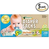 Green N Pack Baby Diaper Sacks with Fresh Baby Powder Scent (BPA Free), 200 Count, Pack of 5