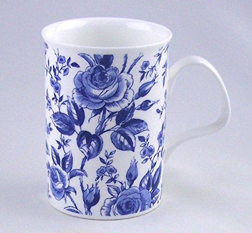 Fine English Bone China Mug - Blue Lucy Chintz- Roy Kirkham, England