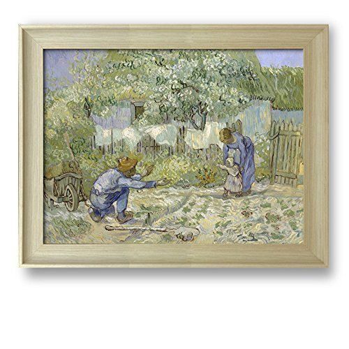 First Steps by Vincent Van Gogh Framed Art Print Famous Painting Wall Decor Natural Wood Finish Frame