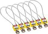 Brady 146133 Compact Cable Padlocks, 5-Pin Cylinder, 8.0'' Shackle Clearance, Keyed Alike, 1.31'' Height, 1.25'' Wide, 0.56'' Length, Yellow
