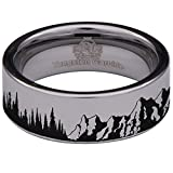 Silver Tungsten Carbide Trees and Mountain Scenery Ring 8mm Wedding Band Anniversary Ring for Men and Women Size 10