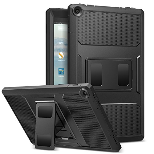 MoKo Case for All-New Amazon Fire HD 10 Tablet (7th Generation, 2017 Release) - [Heavy Duty] Shockproof Full Body Rugged Cover with Built-in Screen Protector for Fire HD 10.1 Inch Tablet, Black