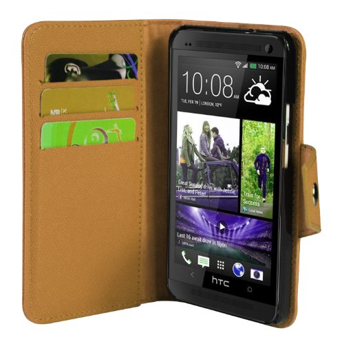 JKase Executive Series Wallet Cover Case with Credit / Business Card Holder For HTC One (M7) (Brown)