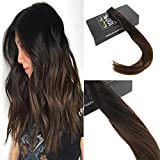 Sunny 20″ Tape in Hair Extensions Ombre Human Hair 40 pc 100g Colorful Natural Black to Medium Brown Highlighted Tape in Hair Extensions Human Hair
