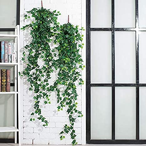 12Pcs 83Ft YCbingo Artificial Vines Parthenocissus Faux Fake Ivy Leaves Hanging Greenery Garland Vine Plant for Garden Wedding Party Home Wall Decoration
