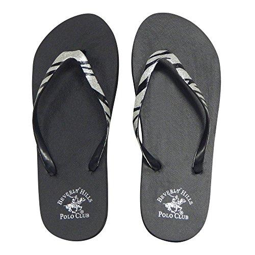 Beverly Hills Polo Club Zebra Glitter Womens Flip Flop Sandal Thong (8 US, Silver) -