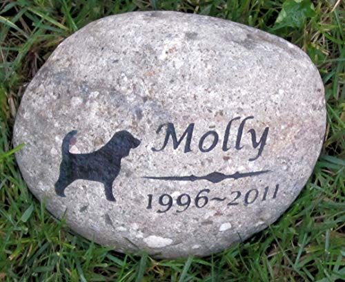 Beagle Memorial Stone, 8-9 Inch Riverstone, Garden Memorial Gravestone, All Breeds Available, Dog Grave Marker