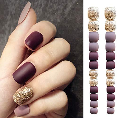 Sethexy Matte False Nails Short Glitter Jump Color Full Cover Art Design Acrylic 24Pcs Fake nails for Women and Girls