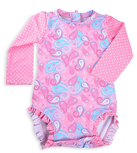 Long Sleeve Rash Guard One Piece Swim Suit for Girls | Baby Toddler Girl Swim Suit with UV40 Sun Protection (3T, Pink Paisley)
