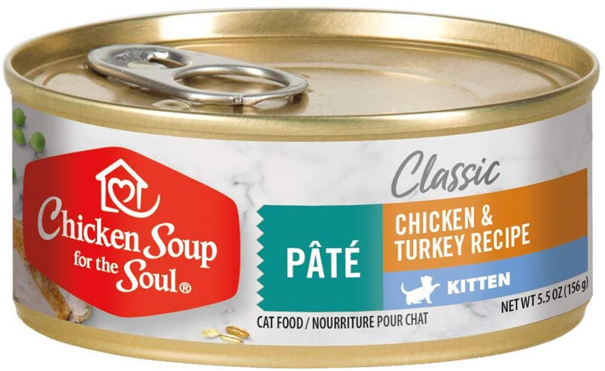 Chicken Soup for the Soul Pet Food - Kitten Cat Food - Chicken & Turkey Pate, Pack of 24, 5.5 Ounce Cans Soy, Corn & Wheat Free, No Artificial Flavors or Preservatives
