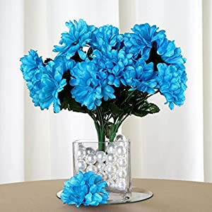 Efavormart 84 Artificial Chrysanthemum Mums Balls for DIY Wedding Bouquets Centerpieces Party Home Decoration Wholesale - Turquoise 17