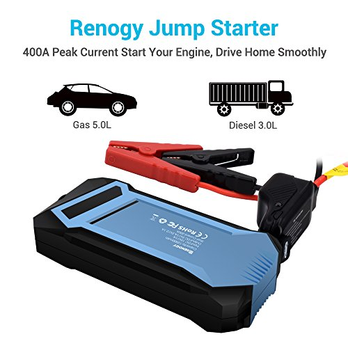 Renogy 400A Peak 12000 mAh Car Jump Starter Portable Durable Compact Charger with 3 USB Ports 3 Modes Emergency LED Flashlight Power Bank for iPhone iPad iPod Samaung Galaxy 5L Petrol 3L Diesel Engine by Renogy (Image #1)
