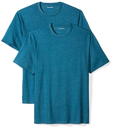 Amazon Essentials Men's 2-Pack Loose-Fit Short-Sleeve Crewneck T-Shirts, teal heather, Medium