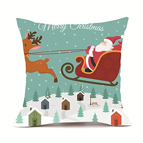(Drfoytg Merry Christmas Pillow Case Snowman Santa Claus Print Throw Pillowcase Velvet Square Cushion Cover 18 x)