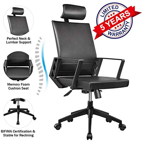 Leather Computer Modern Desk Chair Lumbar Support Tilt Control High Back Chairs, 360 Swivel Ergonomic Work study Executive Chair for Office Home with Fixed Arm Adjustable Headrest