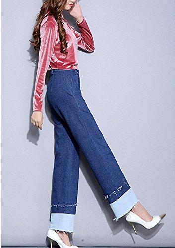 A Elasticizzati Denim Donna Casuale Alta Boyfriend Straight Bootcut Da Pantaloni Baggy Larghi Vita Blu Comodo Jeans npqF06xF