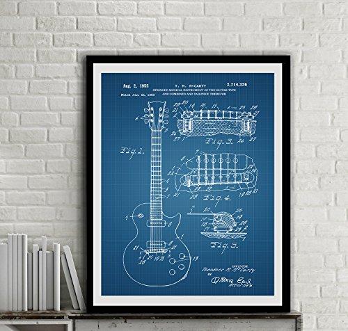 Gibson Les Paul Guitar Patent Art Print Electric Guitar Patent Wall Music Wall Decor