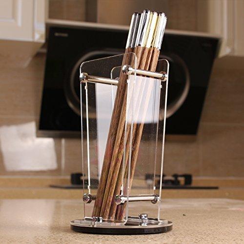 dingdangbell Acrylic Transparent Chopstick Holder Utensil Drying Rack Holder for Kitchen Countertop
