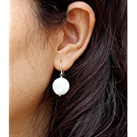 .925 Sterling Silver or 14K Rose Gold Fill or 14K Gold Filled Flat White Coin Pearls Earrings, June Birthstone Flat Freshwater Pearl - Simple Everyday Jewelry , Wedding or Bridesmaid Gifts