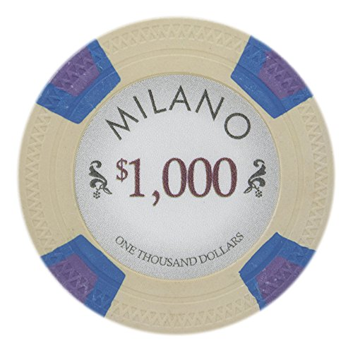 Claysmith Gaming Milano Poker Chip Lightweight 10-gram Casino Clay – Pack of 50 ($1000 Beige)