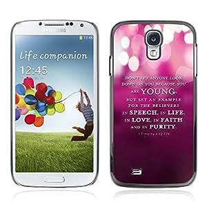Bible Case Cover Samsung Galaxy S4 IV i9500 / 1 Timothy 4:12 ESV YOUNG SPEECH LIFE FAITH PURITY /