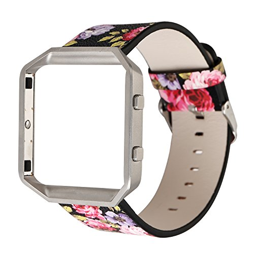 YOSWAN Replacement Band for Fitbit Blaze, Watchband Floral Soft Leather Strap Replacement Watch Band Wristband Bracelet Strap and Frame for Fitbit Blaze