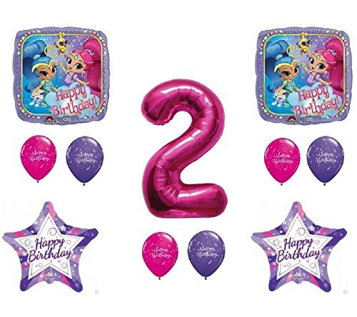 SHIMMER AND SHINE 2nd Second HAPPY Birthday Party Balloons Decoration Supplies Genie Nick by Qualatex
