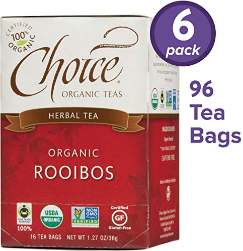 (Choice Organic Teas Herbal Tea, 6 Boxes of 16 (96 Tea Bags), Rooibos, Caffeine Free)