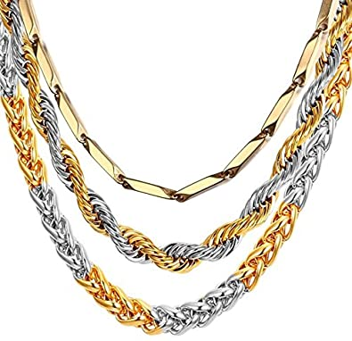 afbcb1124d8ad0 MEENAZ Men Jewellery Valentine Gold Silver Rope Chain 3 Pcs Combo Necklace  for Men Husband Boys Boyfriend Gents Mens Chains for Pendants -CN9163:  Amazon.in: ...