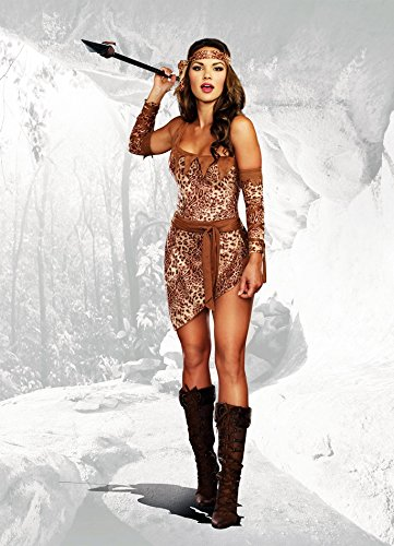 Dreamgirl Women's Jungle Fever Cavewoman Romper with Skirt Costume, Animal Print, X-Large ()