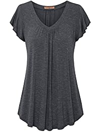Women's Pleated Short Sleeve Blouse Top Tunic Shirt