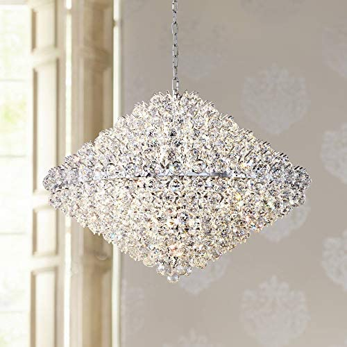 "Essa Chrome Crystal Large Pendant Chandelier 35 1/2"" Wide Modern 23-Light Fixture"